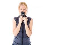 Medidor da mulher e do flash Fotografia de Stock Royalty Free