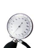 Medidor da pressão sanguínea no fundo branco com sombra macia fotografia de stock