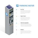 Medidor de estacionamento permitindo o pagamento pelo telefone celular, cartões de crédito, moedas Negócio liso isométrico da ilu Imagens de Stock Royalty Free