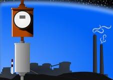 Medidor de potência e planta de carvão Imagens de Stock Royalty Free