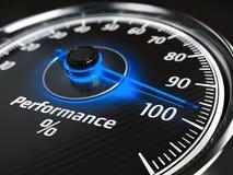 Medidor do nível de desempenho com a seta em 100% Imagens de Stock