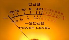 Medidor do Vu, a potência do DB fotografia de stock