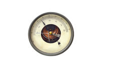 Medidor redondo velho do barômetro isolado sobre o fundo branco Imagem de Stock Royalty Free