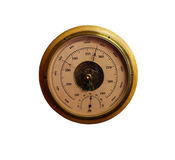 Medidor redondo velho do barômetro isolado sobre o fundo branco Fotografia de Stock Royalty Free