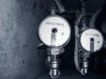 Medidores de água imagem de stock