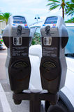 Medidores de estacionamento de Digitas que aceitam cartões de crédito Imagens de Stock