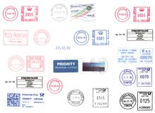 Medidores de porte postal europeus isolados sobre o branco Foto de Stock