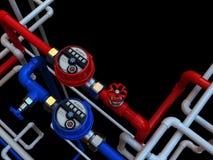 Medidores e torneiras de água Fotografia de Stock