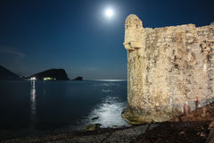 Medieaval fortress of Budva in the moonlight Royalty Free Stock Image