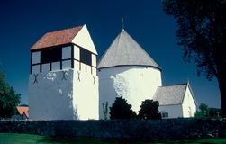 Medieaval round church in Osterlars in Bornholm island. Medieval round church in Osterlars built in the middle ages on the island of Bornholm, Baltic Sea royalty free stock photography
