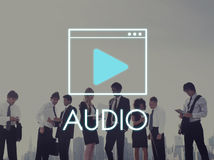 Medien-Audiospieler-Blog-Konzept Stockbild