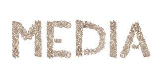 Medien geschrieben mit kleinen Würfeln Lizenzfreies Stockbild