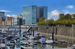 Medien-Hafen Medienhafen Deutschlands Dusseldorf mit Lizenzfreies Stockfoto