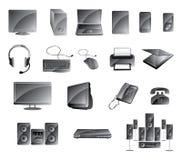 Medien-Ikone gesetzter glatter Gray Color Stockfoto