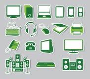Medien-Ikonen-gesetzte grüne Farbe Lizenzfreie Stockfotos
