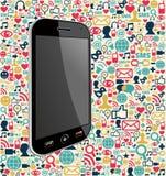 Medien-Ikonenhintergrund Iphone Sozial Stockfoto