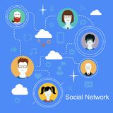 Medien-Ikonenkonzept des Sozialen Netzes mit Leuten Stockfoto