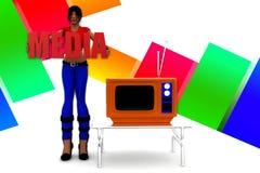 Medien-Illustration der Frauen-3d Stockbild