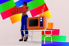 Medien-Illustration der Frauen-3d Lizenzfreie Stockfotos
