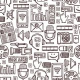 Medien skizzieren nahtloses Muster Lizenzfreies Stockbild