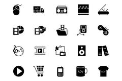 Medien und Anzeigen-Vektor-Ikonen 5 Lizenzfreie Stockfotos