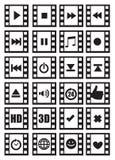 Medien und Audiosymbole auf negativ Film-Vektor-Ikonen-Satz Stockfotografie