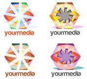 Medien-Werbefirma-Zusammenfassungs-Logo Stockfotos
