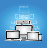 Mediengeräte mit Internet-Suchstange Stockfotografie