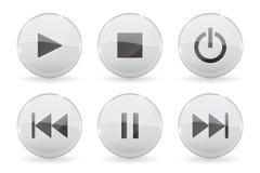 Medienglasknöpfe Weiße Audio- oder glänzende Videoikonen 3d Stock Abbildung
