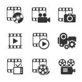 Medienikonensatz auf Weiß Einkaufsumbauten und -ikonen Stockfotos