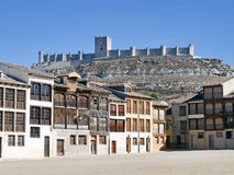 Medieval. Small medieval town of Penafiel (Valladolid province, Spain), with its plaza still used for bull fights Stock Photo