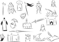 Medieval. 20 themed EPS images related to medieval age. The number of vector nodes is absolute minimum. The images are very easy to use and edit and are Royalty Free Stock Image