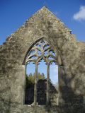 Medieval Abbey. Window of an old medieval monastary Stock Photos