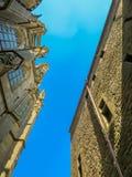 Medieval abbey Mont Saint-Michel, France. Medieval abbey, the bottom view upwards. Mont Saint-Michel, France Stock Photography