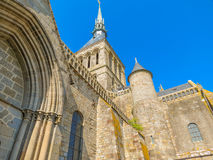 Medieval abbey Mont Saint-Michel, France. Medieval abbey, the bottom view upwards. Mont Saint-Michel, France Royalty Free Stock Photography