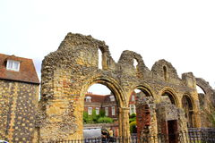 Medieval abbey ruins Canterbury Cathedral UK Stock Images
