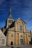 The medieval abbey of Saint Michel in British France. Details of the temples inside the city stock image