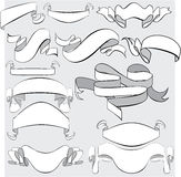 Medieval abstract ribbons, crolls, banners - set f Royalty Free Stock Image