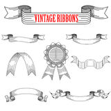 Medieval abstract ribbons set for heraldry design Royalty Free Stock Images