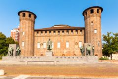 Castle square in Turin, Piedmont,  Italy. The Medieval Acaja Castle in Castle Square in Turin, Piedmont, Italy Stock Photos