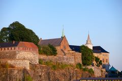 Akershus Castle and Fortress central Oslo Norway Scandanavia. Medieval Akershus Castle and Fortress, former royal residence in central Oslo, Norway, Scandanavia stock image