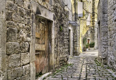 Medieval alley in Croatia. Royalty Free Stock Images