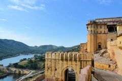 Medieval Amber Fort, Jaipur, Rajasthan, India Royalty Free Stock Images