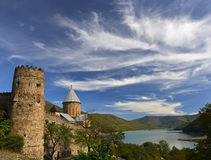 Medieval Ananuri against beautiful landscape Royalty Free Stock Photo