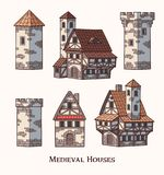 Medieval ancient buildings set of different kinds of traditional houses isolated vector illustration vector illustration