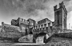 Soncino medieval castle in Lombardia. The medieval ancient castle of Soncino in Cremona Lombardia Royalty Free Stock Images