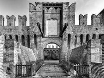 Soncino medieval castle in Lombardia. The medieval ancient castle of Soncino in Cremona Lombardia Stock Photography