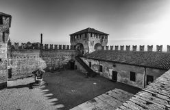 Soncino medieval castle in Lombardia. The medieval ancient castle of Soncino in Cremona Lombardia Royalty Free Stock Image