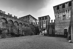 Soncino medieval castle in Lombardia. The medieval ancient castle of Soncino in Cremona Lombardia Stock Images