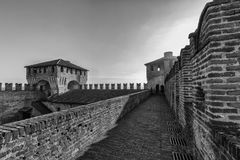 Soncino medieval castle in Lombardia. The medieval ancient castle of Soncino in Cremona Lombardia Royalty Free Stock Photography